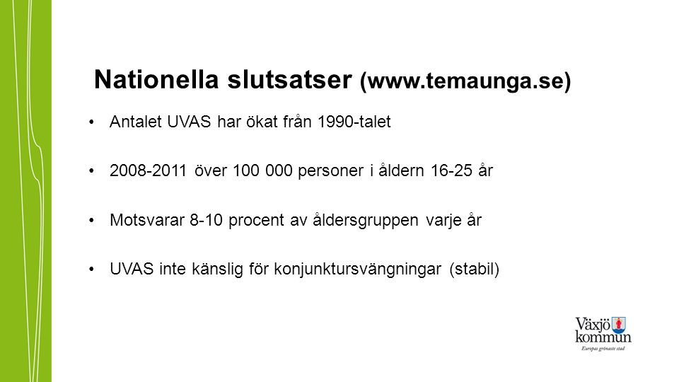 Nationella slutsatser (www.temaunga.se) Antalet UVAS har ökat från 1990-talet 2008-2011 över 100 000 personer i åldern 16-25 år Motsvarar 8-10 procent