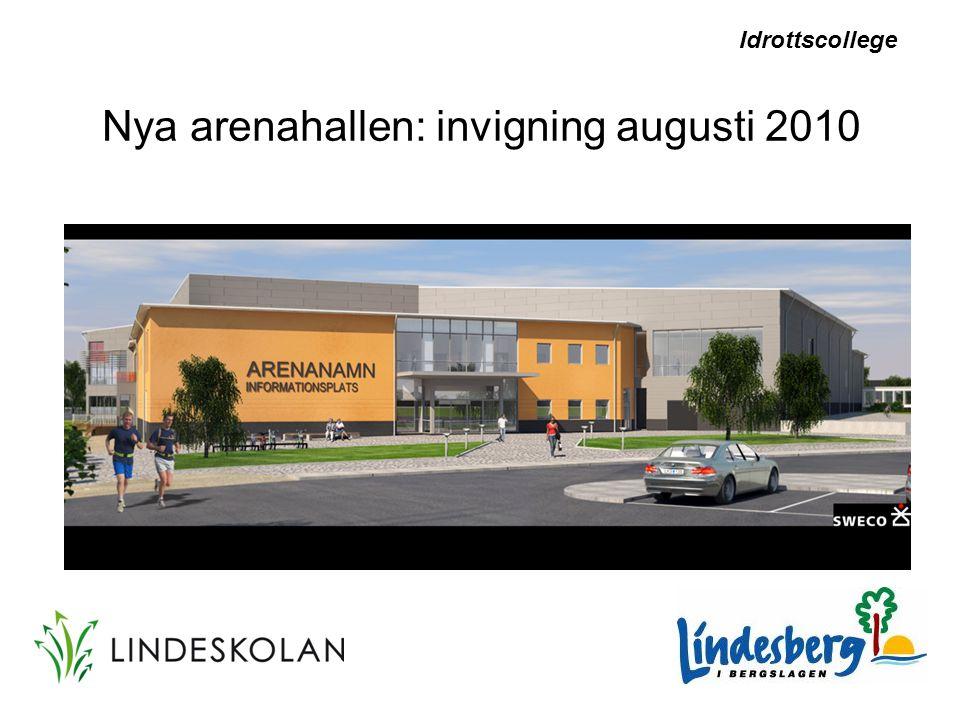 Nya arenahallen: invigning augusti 2010 Idrottscollege