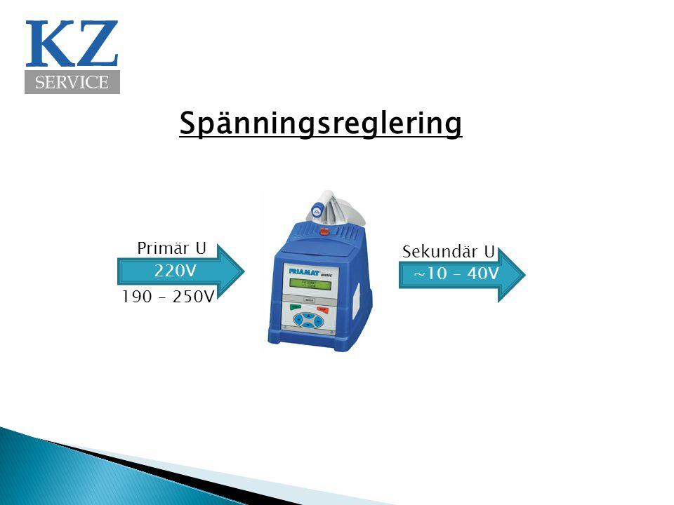 Spänningsreglering 220V ∼10 – 40V Primär U Sekundär U 190 – 250V