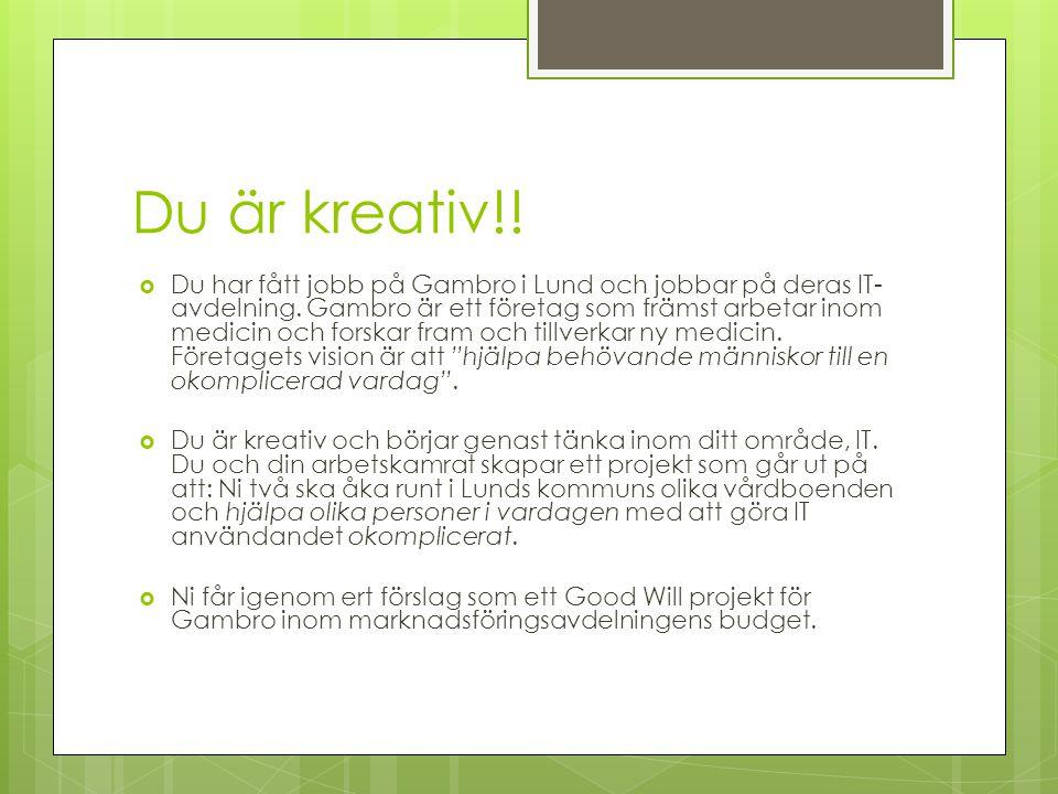 Du är kreativ!.  Du har fått jobb på Gambro i Lund och jobbar på deras IT- avdelning.
