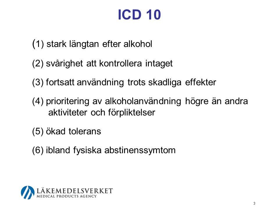 4 DSMIV (kriterium 1–2 av 7) (1) tolerans, definierat som endera av följande: a) ett behov av påtagligt ökad mängd alkohol för att uppnå rus eller annan önskad effekt b) påtagligt minskad effekt vid fortgående bruk av samma mängd alkohol (2) abstinens, vilket visar sig i något av följande: a) abstinenssymtom som är karaktäristiska för alkohol b) alkohol intas i syfte att lindra eller undvika abstinenssymtom