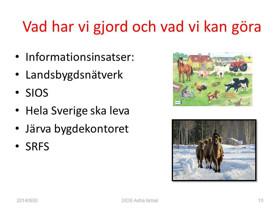 Vad har vi gjord och vad vi kan göra Informationsinsatser: Landsbygdsnätverk SIOS Hela Sverige ska leva Järva bygdekontoret SRFS 20140930SIOS Asha Ismail10