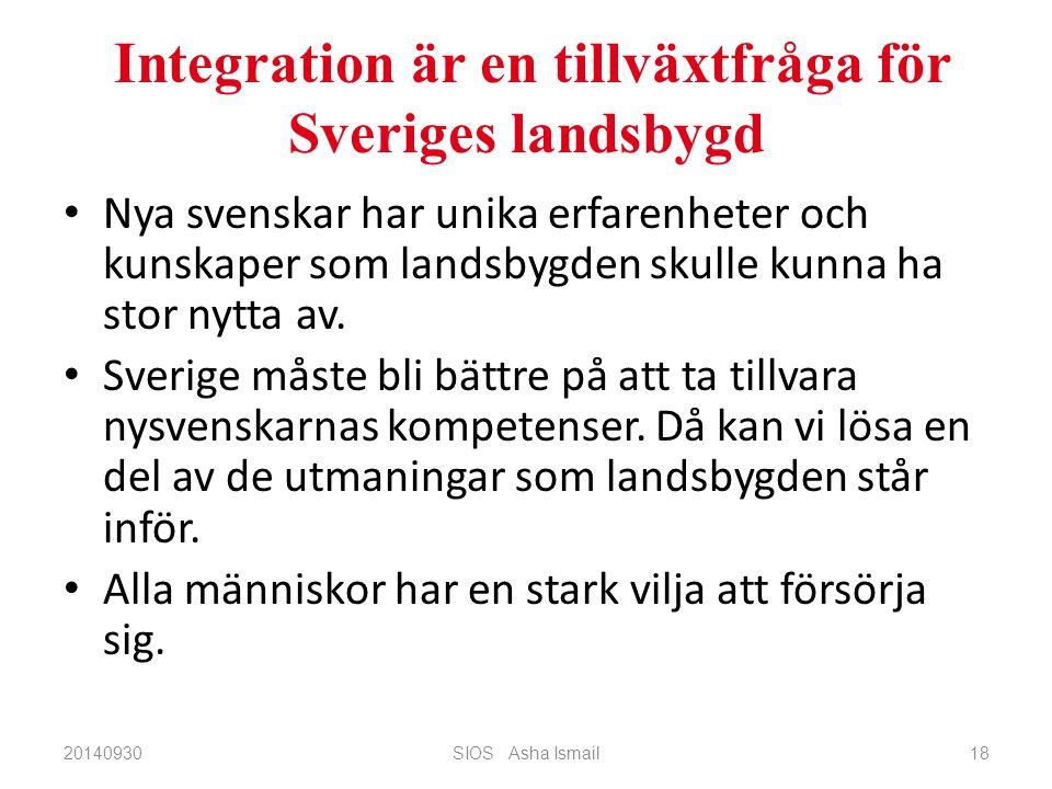 Integration är en tillväxtfråga för Sveriges landsbygd Nya svenskar har unika erfarenheter och kunskaper som landsbygden skulle kunna ha stor nytta av.