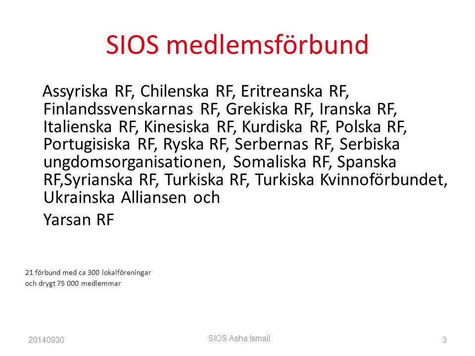 SIOS medlemsförbund Assyriska RF, Chilenska RF, Eritreanska RF, Finlandssvenskarnas RF, Grekiska RF, Iranska RF, Italienska RF, Kinesiska RF, Kurdiska RF, Polska RF, Portugisiska RF, Ryska RF, Serbernas RF, Serbiska ungdomsorganisationen, Somaliska RF, Spanska RF,Syrianska RF, Turkiska RF, Turkiska Kvinnoförbundet, Ukrainska Alliansen och Yarsan RF 21 förbund med ca 300 lokalföreningar och drygt 75 000 medlemmar 20140930 SIOS Asha Ismail 3