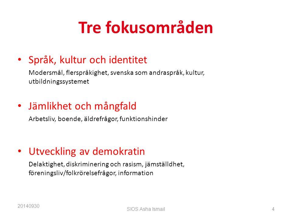 Tre fokusområden Språk, kultur och identitet Modersmål, flerspråkighet, svenska som andraspråk, kultur, utbildningssystemet Jämlikhet och mångfald Arbetsliv, boende, äldrefrågor, funktionshinder Utveckling av demokratin Delaktighet, diskriminering och rasism, jämställdhet, föreningsliv/folkrörelsefrågor, information 20140930 SIOS Asha Ismail4