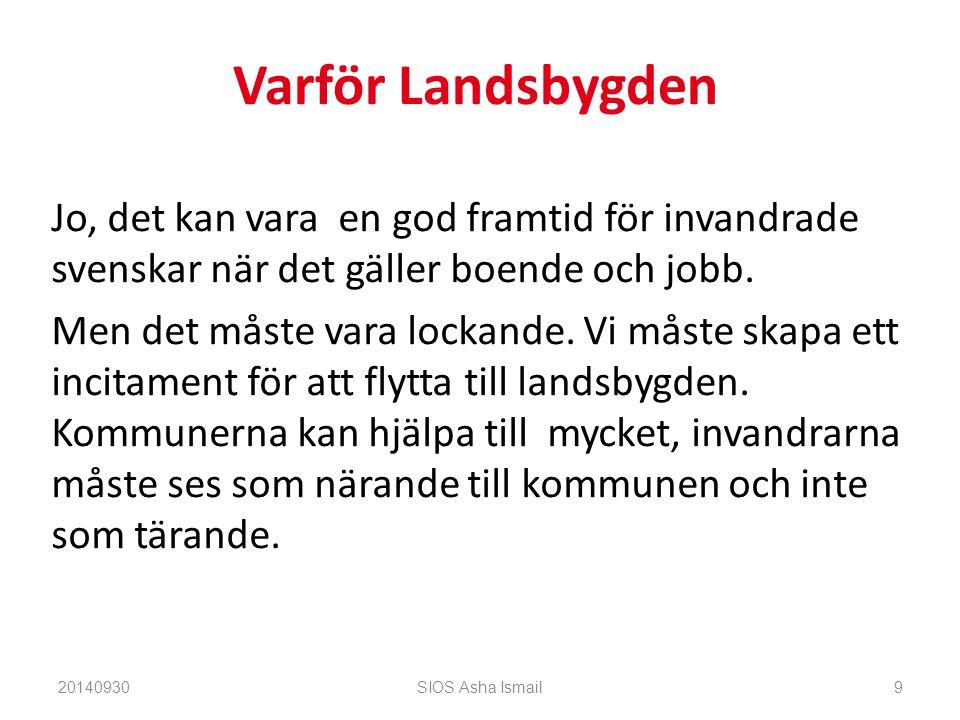 Varför Landsbygden Jo, det kan vara en god framtid för invandrade svenskar när det gäller boende och jobb.
