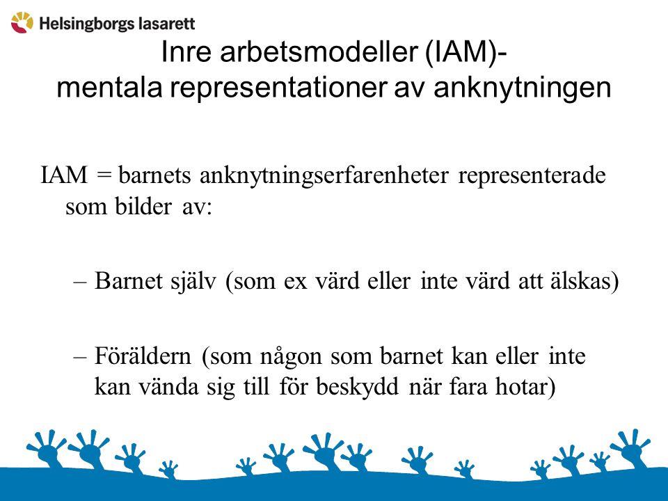 Inre arbetsmodeller (IAM)- mentala representationer av anknytningen IAM = barnets anknytningserfarenheter representerade som bilder av: –Barnet själv (som ex värd eller inte värd att älskas) –Föräldern (som någon som barnet kan eller inte kan vända sig till för beskydd när fara hotar)