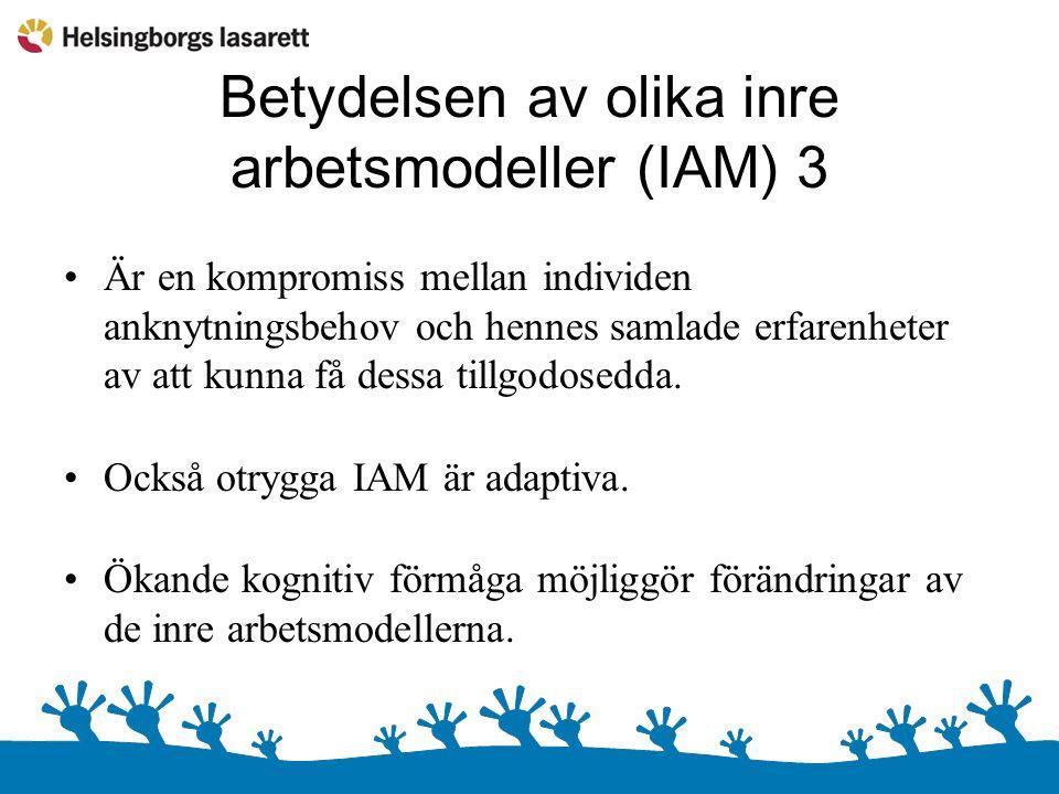 Betydelsen av olika inre arbetsmodeller (IAM) 3 Är en kompromiss mellan individen anknytningsbehov och hennes samlade erfarenheter av att kunna få dessa tillgodosedda.
