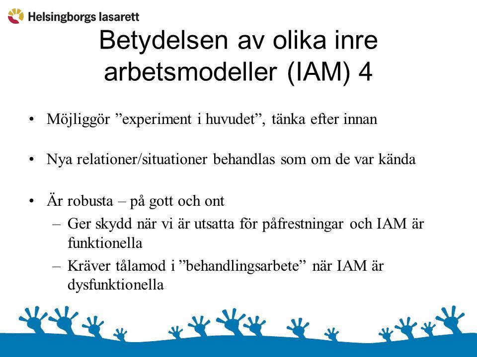 Betydelsen av olika inre arbetsmodeller (IAM) 4 Möjliggör experiment i huvudet , tänka efter innan Nya relationer/situationer behandlas som om de var kända Är robusta – på gott och ont –Ger skydd när vi är utsatta för påfrestningar och IAM är funktionella –Kräver tålamod i behandlingsarbete när IAM är dysfunktionella