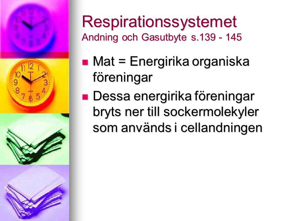 Respirationssystemet Andning och Gasutbyte s.139 - 145 Mat = Energirika organiska föreningar Mat = Energirika organiska föreningar Dessa energirika fö