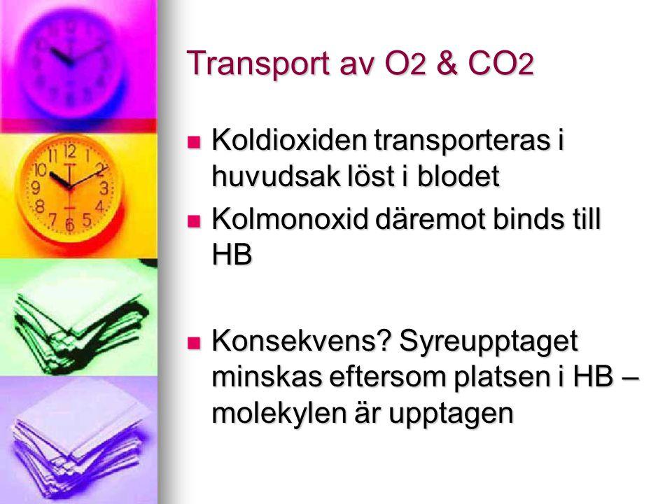 Transport av O 2 & CO 2 Koldioxiden transporteras i huvudsak löst i blodet Koldioxiden transporteras i huvudsak löst i blodet Kolmonoxid däremot binds till HB Kolmonoxid däremot binds till HB Konsekvens.