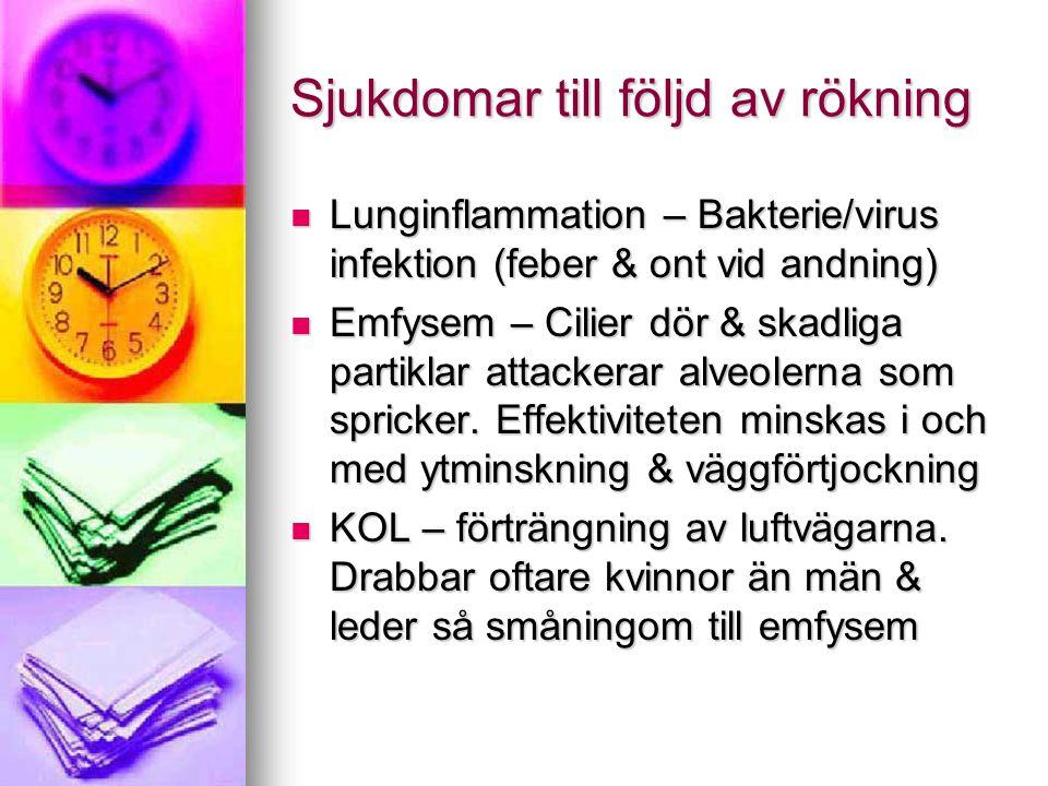Sjukdomar till följd av rökning Lunginflammation – Bakterie/virus infektion (feber & ont vid andning) Lunginflammation – Bakterie/virus infektion (feb
