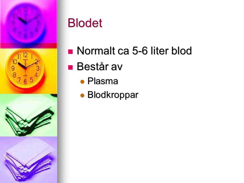 Blodet Normalt ca 5-6 liter blod Normalt ca 5-6 liter blod Består av Består av Plasma Plasma Blodkroppar Blodkroppar