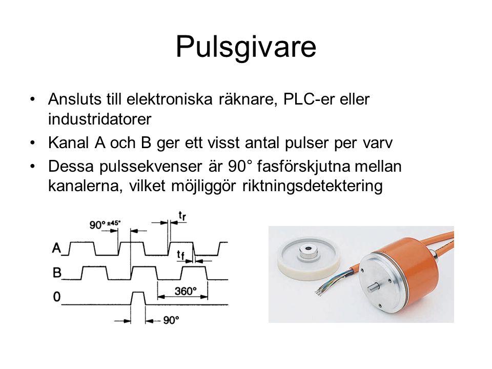 Pulsgivare Ansluts till elektroniska räknare, PLC-er eller industridatorer Kanal A och B ger ett visst antal pulser per varv Dessa pulssekvenser är 90