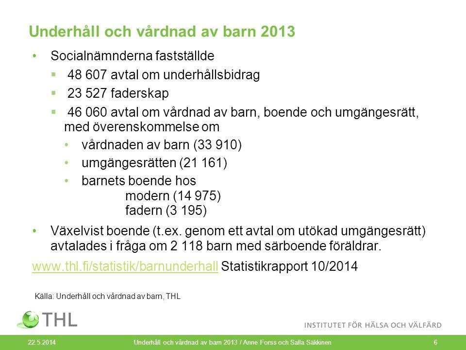 Underhåll och vårdnad av barn 2013 Socialnämnderna fastställde  48 607 avtal om underhållsbidrag  23 527 faderskap  46 060 avtal om vårdnad av barn