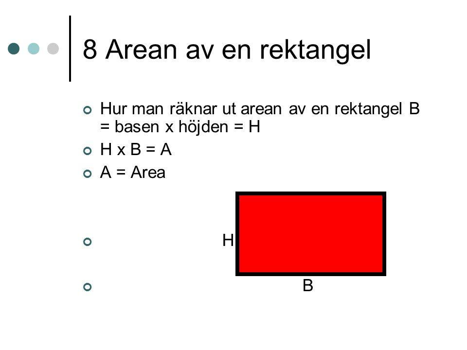 8 Arean av en rektangel Hur man räknar ut arean av en rektangel B = basen x höjden = H H x B = A A = Area H B