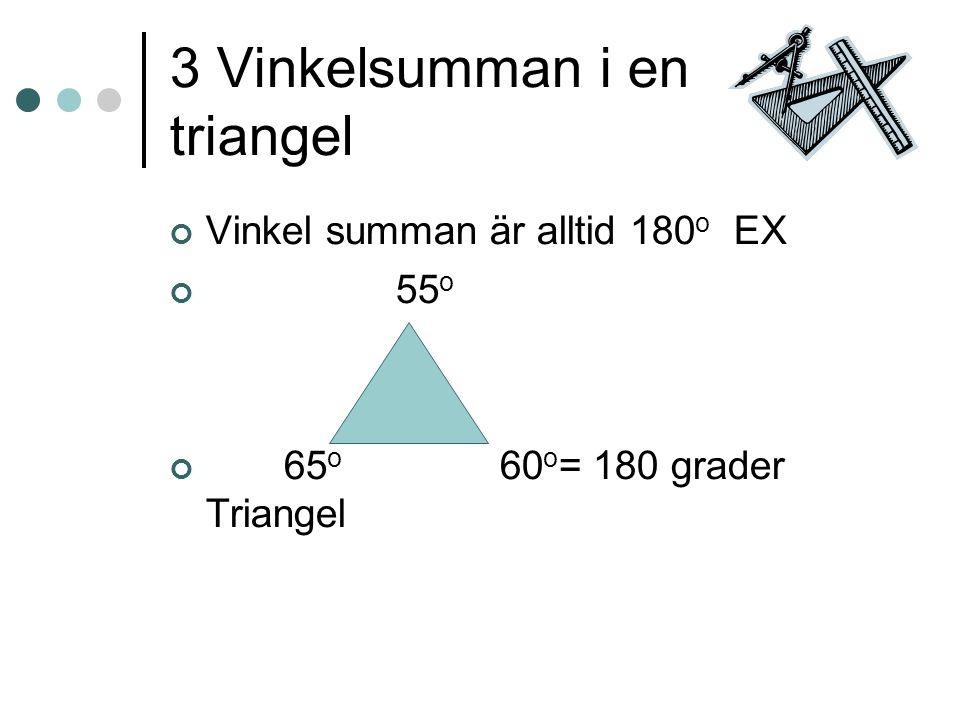 3 Vinkelsumman i en triangel Vinkel summan är alltid 180 o EX 55 o 65 o 60 o = 180 grader Triangel