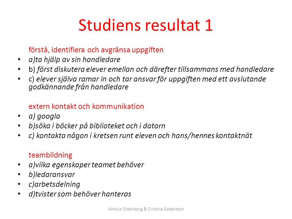 Studiens resultat 1 förstå, identifiera och avgränsa uppgiften a)ta hjälp av sin handledare b) först diskutera elever emellan och därefter tillsammans
