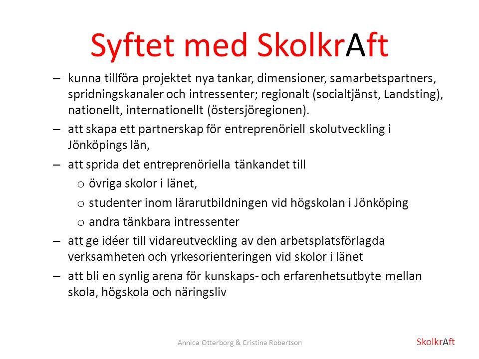 Syftet med SkolkrAft – kunna tillföra projektet nya tankar, dimensioner, samarbetspartners, spridningskanaler och intressenter; regionalt (socialtjäns