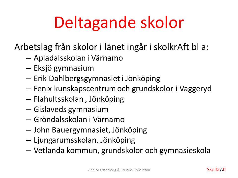 Deltagande skolor Arbetslag från skolor i länet ingår i skolkrAft bl a: – Apladalsskolan i Värnamo – Eksjö gymnasium – Erik Dahlbergsgymnasiet i Jönkö