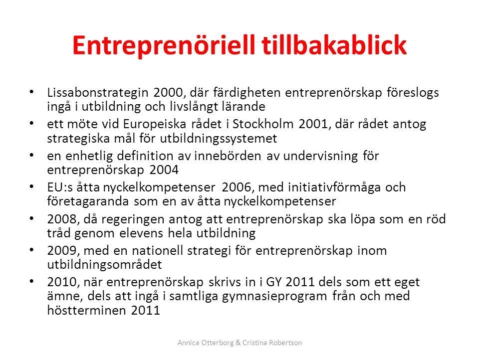 Entreprenöriell tillbakablick Lissabonstrategin 2000, där färdigheten entreprenörskap föreslogs ingå i utbildning och livslångt lärande ett möte vid E