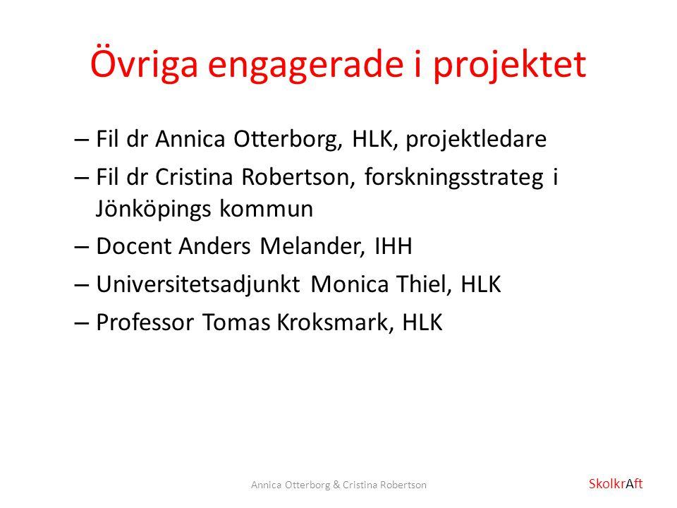 Övriga engagerade i projektet – Fil dr Annica Otterborg, HLK, projektledare – Fil dr Cristina Robertson, forskningsstrateg i Jönköpings kommun – Docen