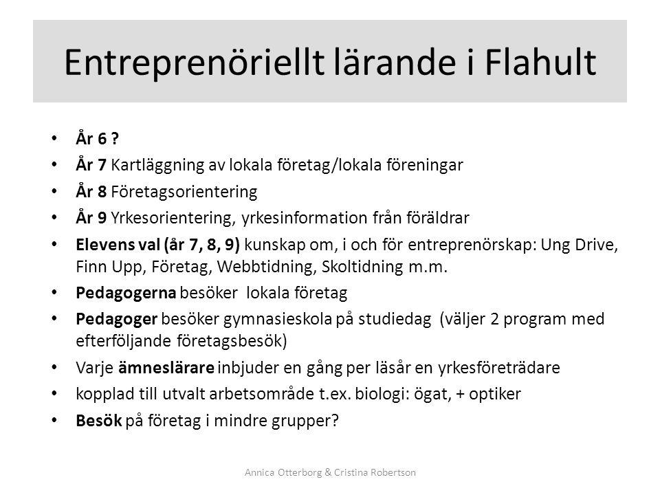 Entreprenöriellt lärande i Flahult År 6 ? År 7 Kartläggning av lokala företag/lokala föreningar År 8 Företagsorientering År 9 Yrkesorientering, yrkesi