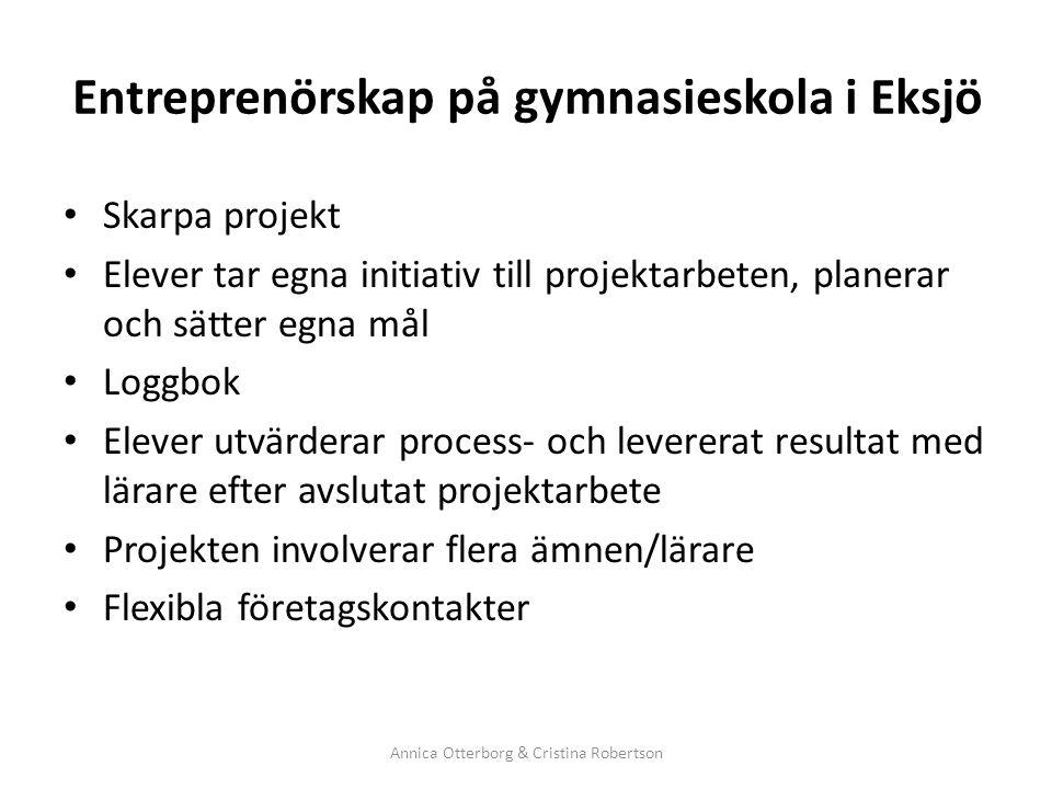 Entreprenörskap på gymnasieskola i Eksjö Skarpa projekt Elever tar egna initiativ till projektarbeten, planerar och sätter egna mål Loggbok Elever utv