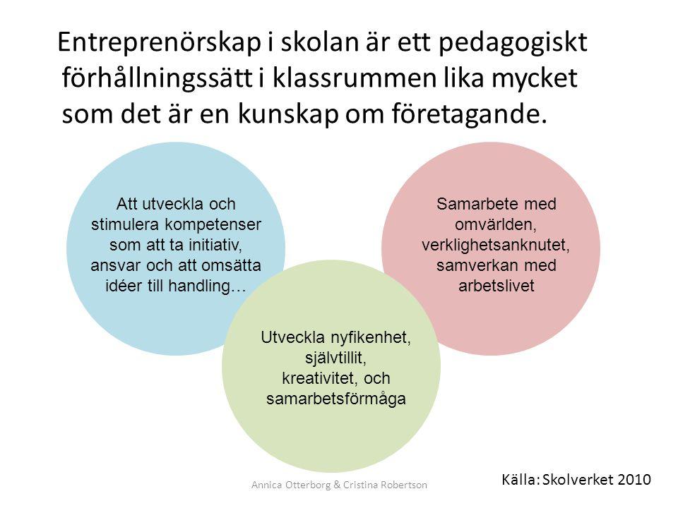 Källa: Skolverket 2010 Entreprenörskap i skolan är ett pedagogiskt förhållningssätt i klassrummen lika mycket som det är en kunskap om företagande. An