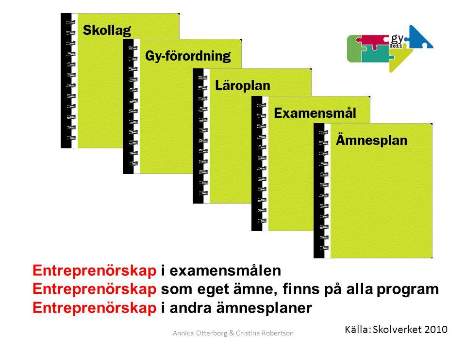 Annica Otterborg & Cristina Robertson Entreprenörskap i examensmålen Entreprenörskap som eget ämne, finns på alla program Entreprenörskap i andra ämne