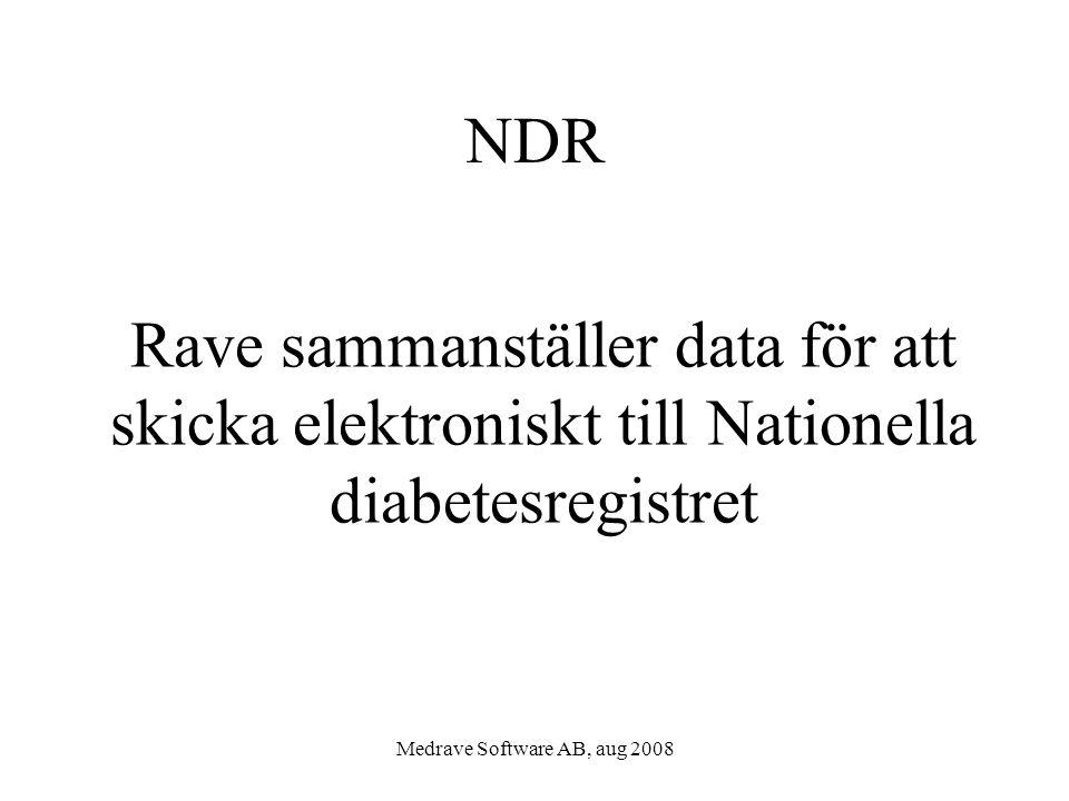 Medrave Software AB, aug 2008 NDR Rave sammanställer data för att skicka elektroniskt till Nationella diabetesregistret