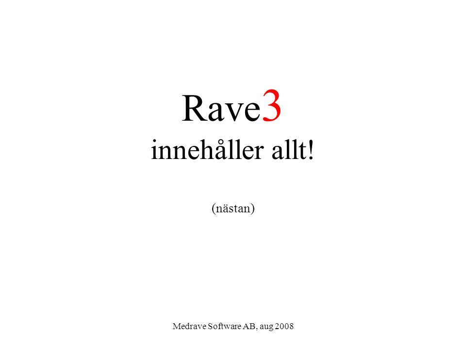 Medrave Software AB, aug 2008 Rave 3 innehåller allt! (nästan)