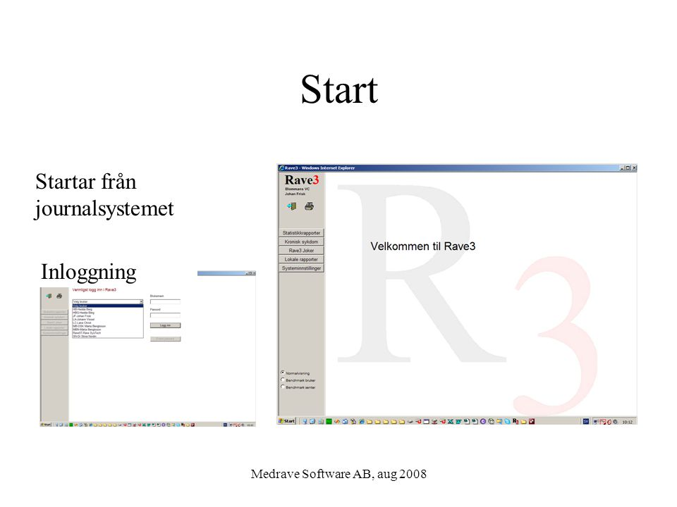 Medrave Software AB, aug 2008 Mina patienters måluppfyllelse Hela verksamhetens måluppfyllelse Måluppfyllelse i olika läkemedels- behandling Måluppfyllelse i ett 10-års- perspektiv