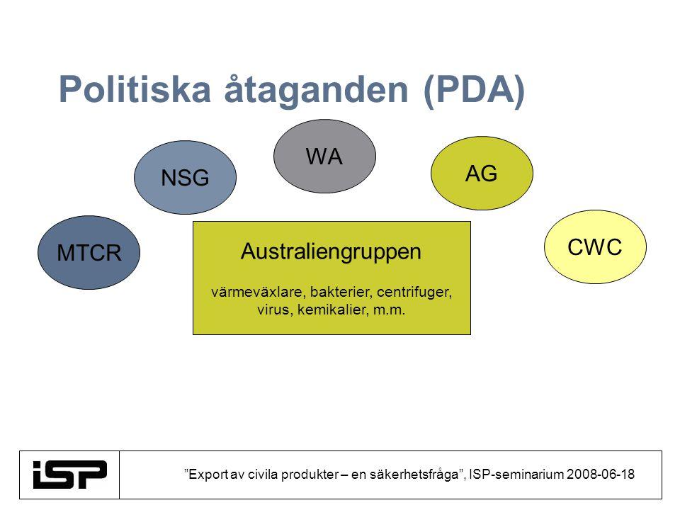 Export av civila produkter – en säkerhetsfråga , ISP-seminarium 2008-06-18 Politiska åtaganden (PDA) Förhållningssätt Produktlistor Avslag Informationsutbyte Generalklausul – Catch-all