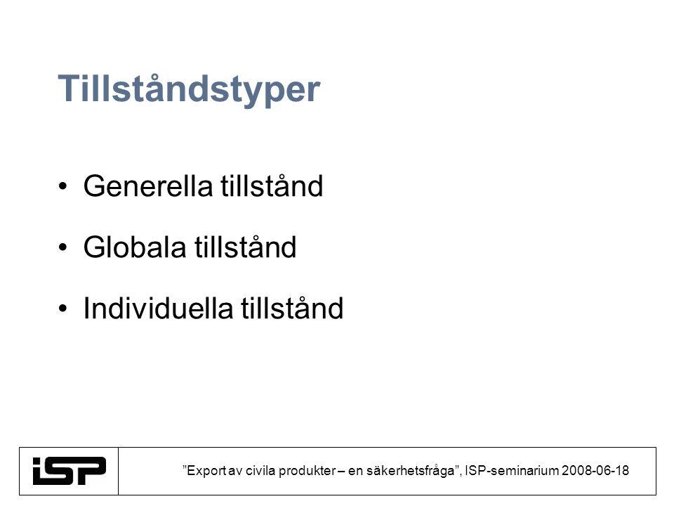 """""""Export av civila produkter – en säkerhetsfråga"""", ISP-seminarium 2008-06-18 Tillståndstyper Generella tillstånd Globala tillstånd Individuella tillstå"""