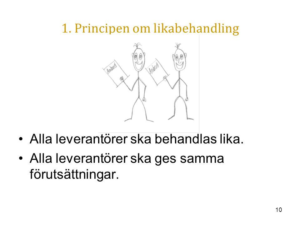 10 1. Principen om likabehandling Alla leverantörer ska behandlas lika. Alla leverantörer ska ges samma förutsättningar.
