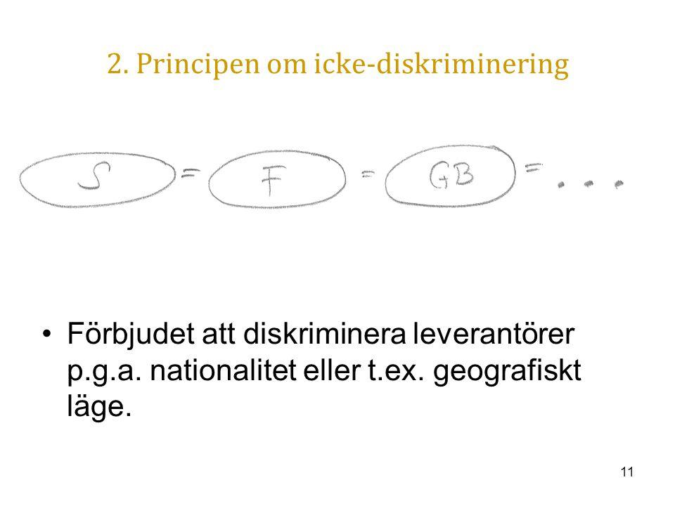 11 2. Principen om icke-diskriminering Förbjudet att diskriminera leverantörer p.g.a. nationalitet eller t.ex. geografiskt läge.