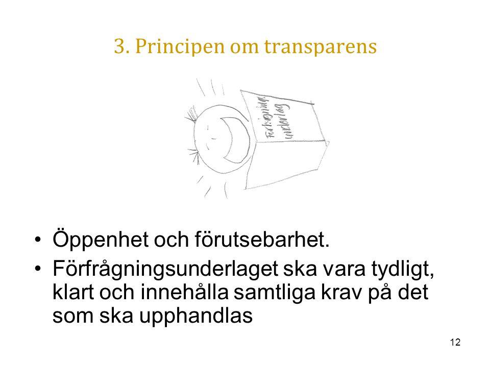 12 3. Principen om transparens Öppenhet och förutsebarhet. Förfrågningsunderlaget ska vara tydligt, klart och innehålla samtliga krav på det som ska u
