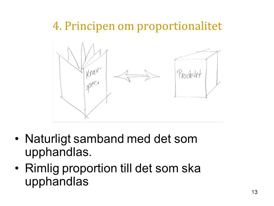 13 4. Principen om proportionalitet Naturligt samband med det som upphandlas. Rimlig proportion till det som ska upphandlas