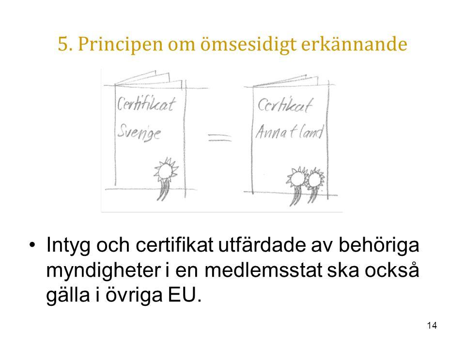 14 5. Principen om ömsesidigt erkännande Intyg och certifikat utfärdade av behöriga myndigheter i en medlemsstat ska också gälla i övriga EU.