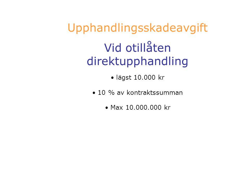 Upphandlingsskadeavgift Vid otillåten direktupphandling lägst 10.000 kr 10 % av kontraktssumman Max 10.000.000 kr