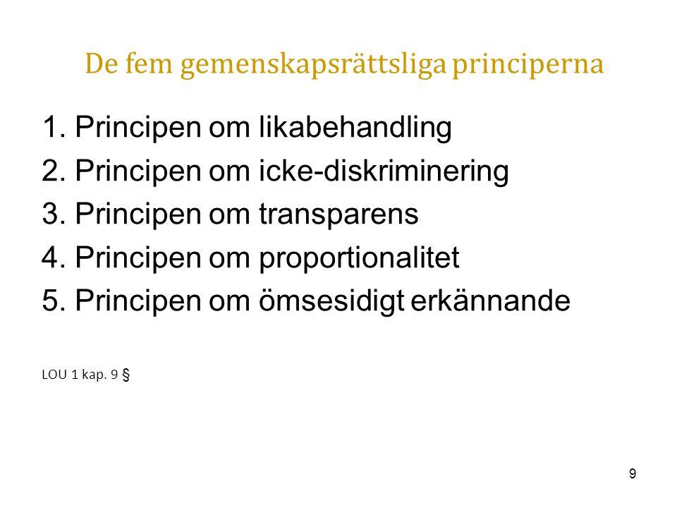 9 De fem gemenskapsrättsliga principerna 1. Principen om likabehandling 2. Principen om icke-diskriminering 3. Principen om transparens 4. Principen o