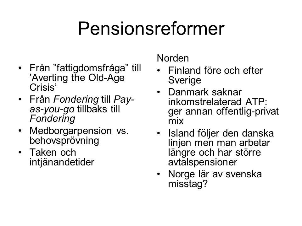 """Pensionsreformer Från """"fattigdomsfråga"""" till 'Averting the Old-Age Crisis' Från Fondering till Pay- as-you-go tillbaks till Fondering Medborgarpension"""