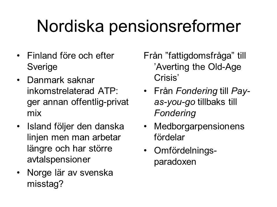 Nordiska pensionsreformer Finland före och efter Sverige Danmark saknar inkomstrelaterad ATP: ger annan offentlig-privat mix Island följer den danska