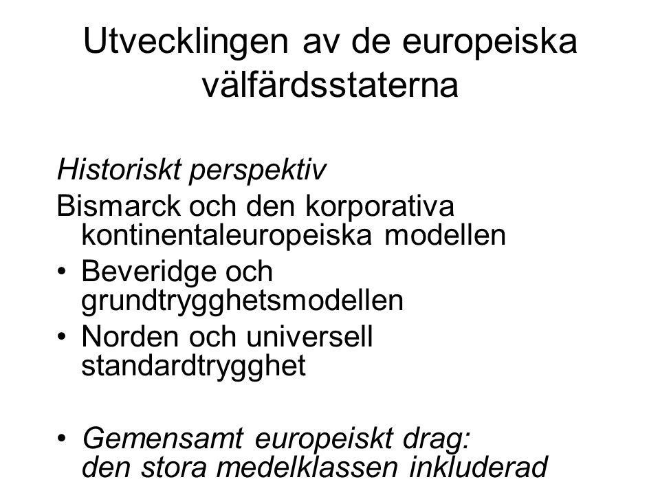 Utvecklingen av de europeiska välfärdsstaterna Historiskt perspektiv Bismarck och den korporativa kontinentaleuropeiska modellen Beveridge och grundtr