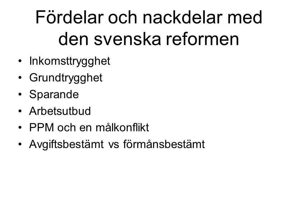 Fördelar och nackdelar med den svenska reformen Inkomsttrygghet Grundtrygghet Sparande Arbetsutbud PPM och en målkonflikt Avgiftsbestämt vs förmånsbes