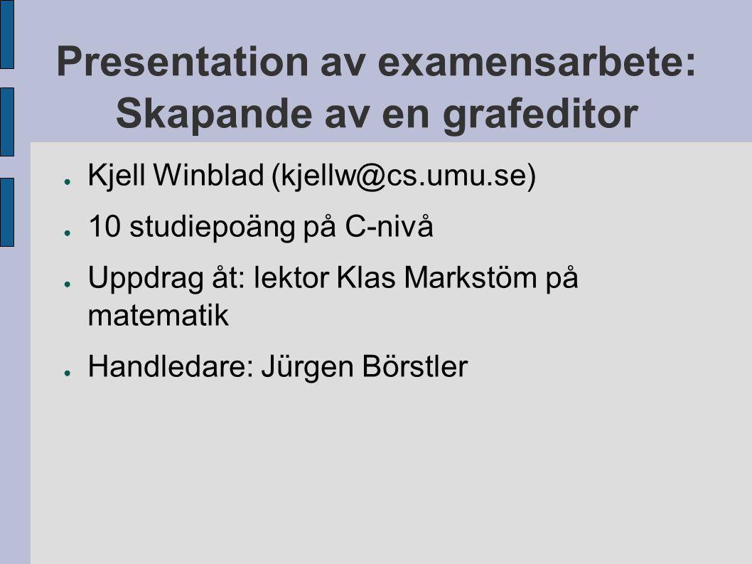 Presentation av examensarbete: Skapande av en grafeditor ● Kjell Winblad (kjellw@cs.umu.se) ● 10 studiepoäng på C-nivå ● Uppdrag åt: lektor Klas Marks