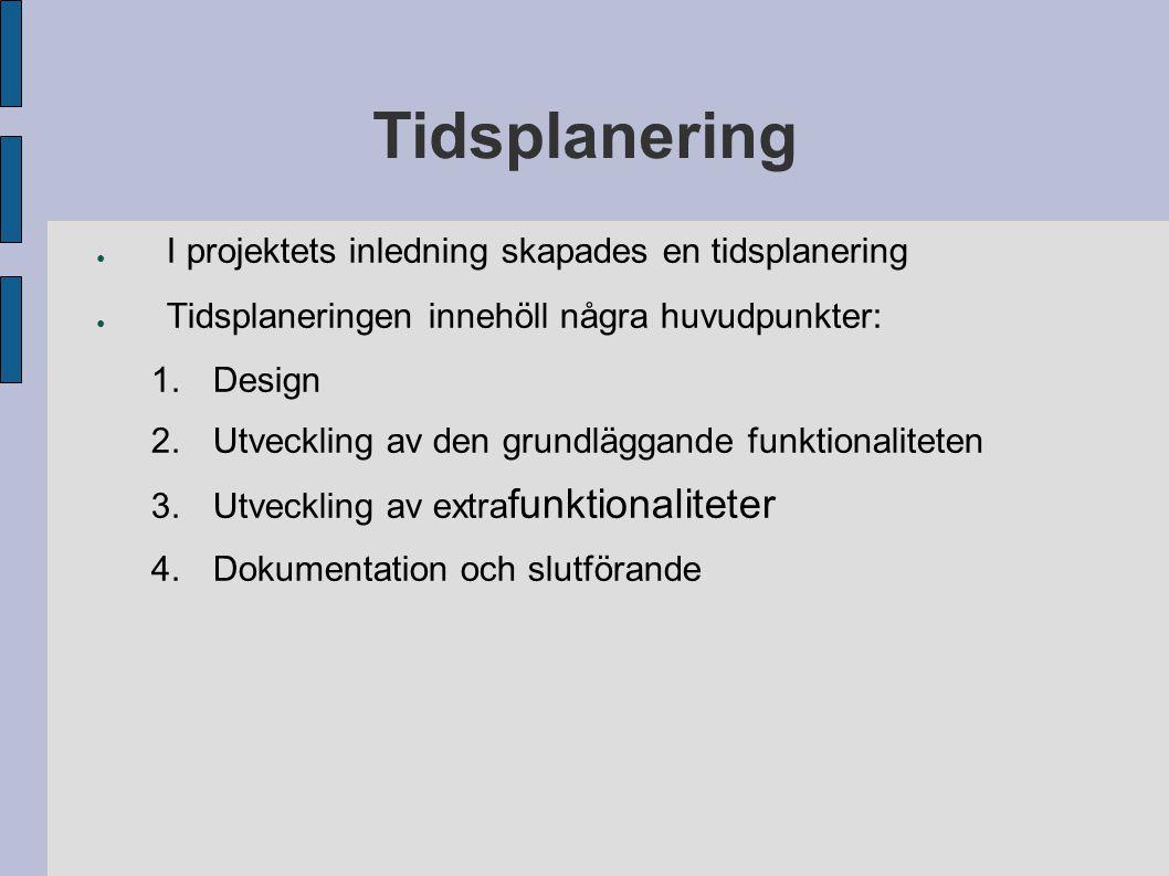 Tidsplanering ● I projektets inledning skapades en tidsplanering ● Tidsplaneringen innehöll några huvudpunkter: 1.Design 2.Utveckling av den grundlägg