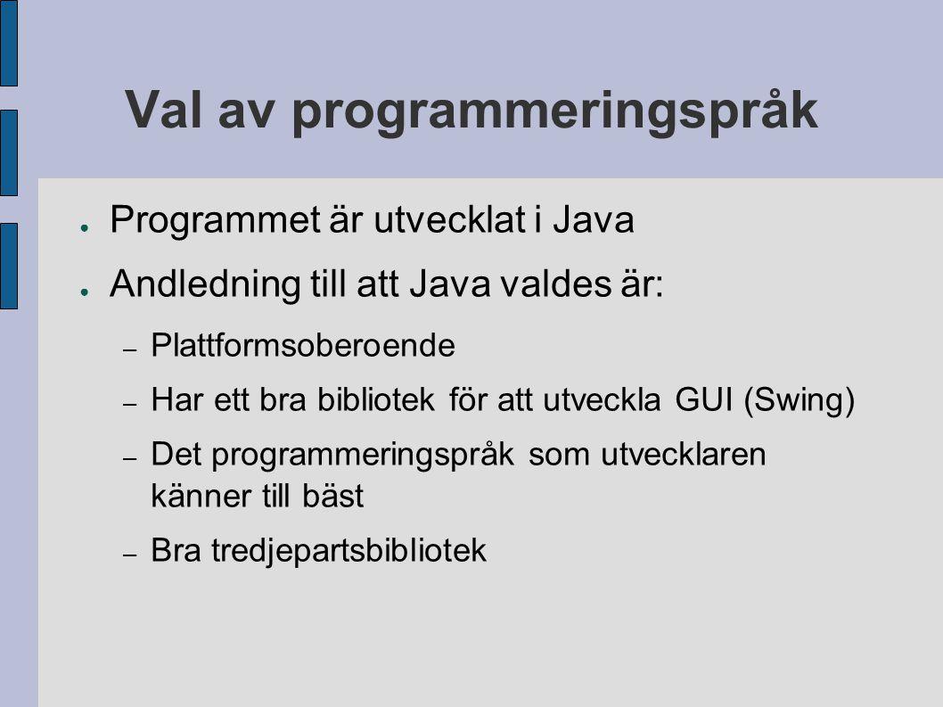 Val av programmeringspråk ● Programmet är utvecklat i Java ● Andledning till att Java valdes är: – Plattformsoberoende – Har ett bra bibliotek för att