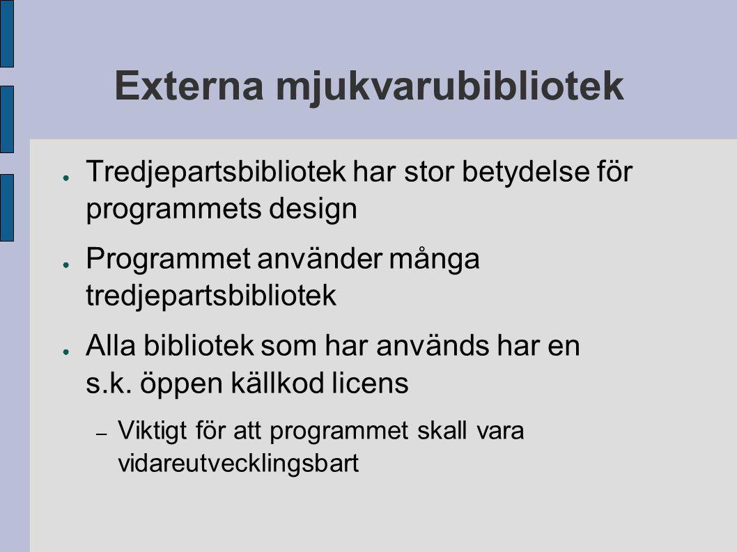 Externa mjukvarubibliotek ● Tredjepartsbibliotek har stor betydelse för programmets design ● Programmet använder många tredjepartsbibliotek ● Alla bib